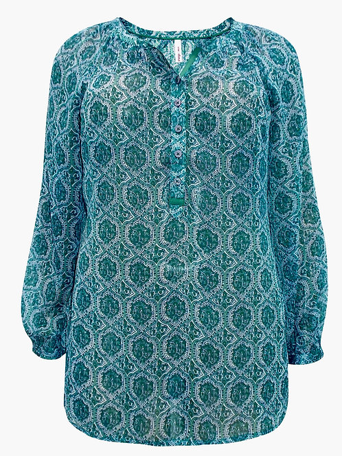 Green Paisley Chiffon Blouse Plus Size 18-30 [285]