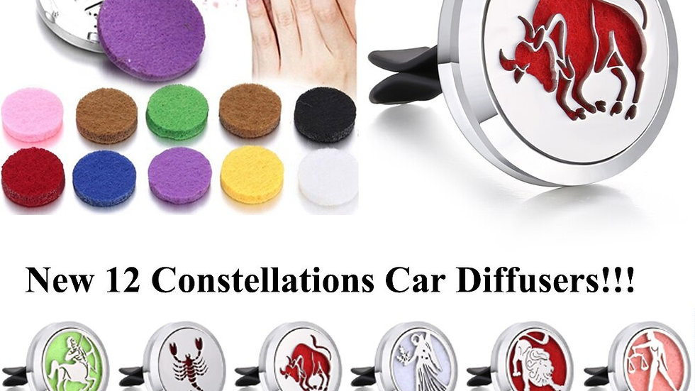 Car Air Freshener Car12 Constellations Diffusers With 10pcs Pad