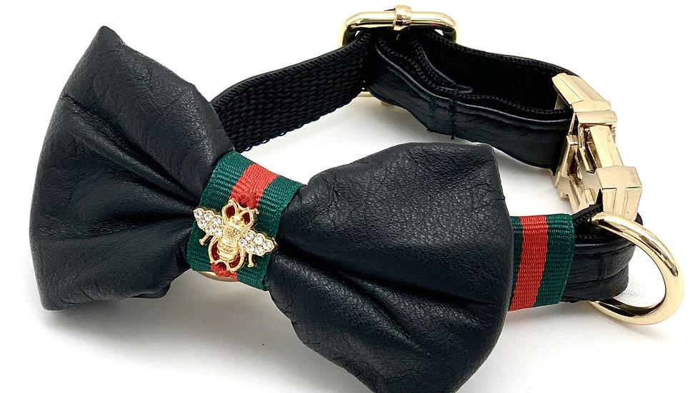 Genuine Black Leather Designer Collar & Bow Tie