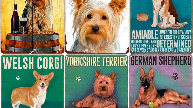 Vintage Pet Plaque Yorkshire Terrier Metal Tin Sign Pub Bar Home Decor