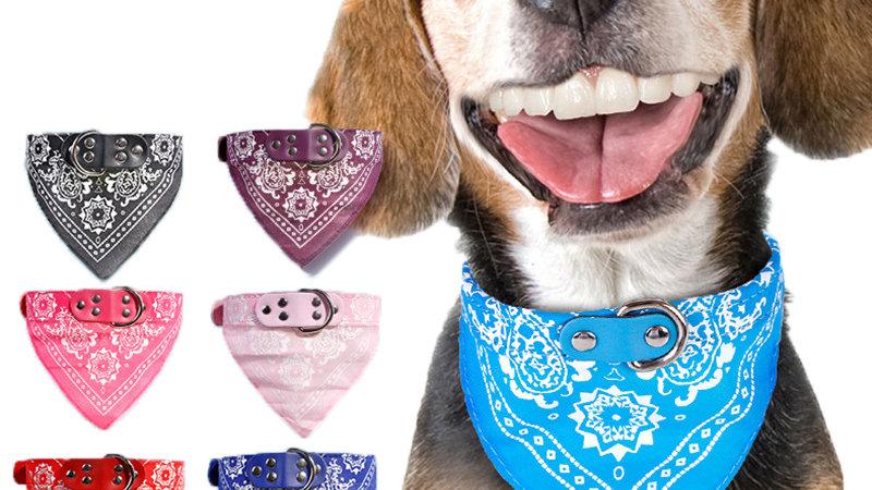 Adjustable Dog Bandana Leather Printed Soft Collar