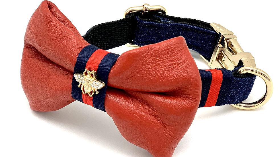 Genuine Red Leather & Navy Denim Designer Dog Collar & Bow Tie