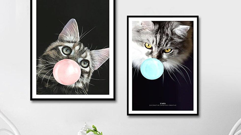 NUOMEGE Nordic Animal Pet Cute Cat Poster Print