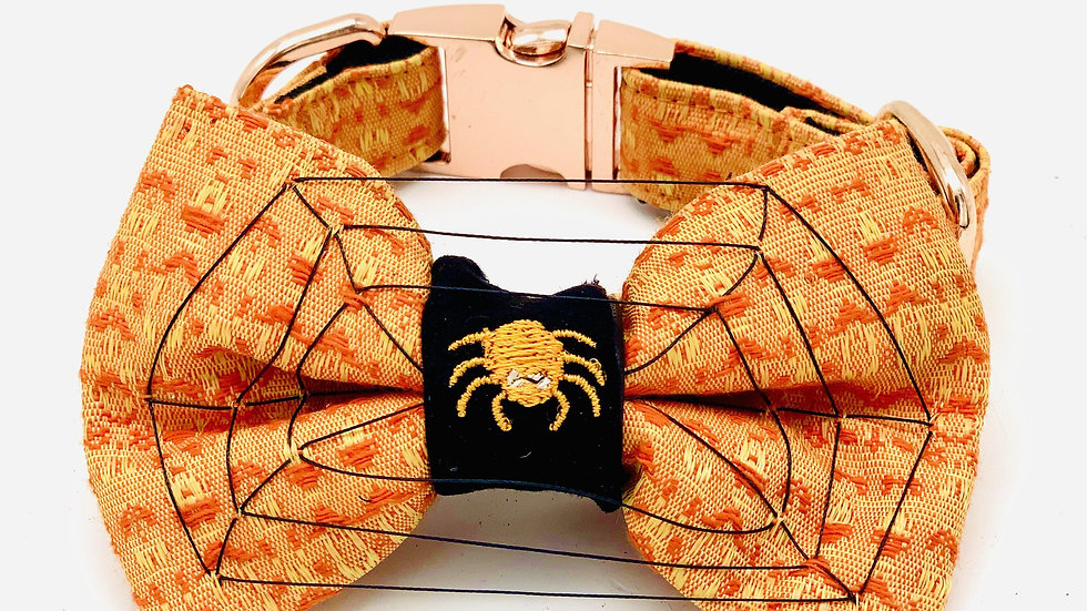 Halloween 3D Spider Web Dog Collar & Bow Tie Set
