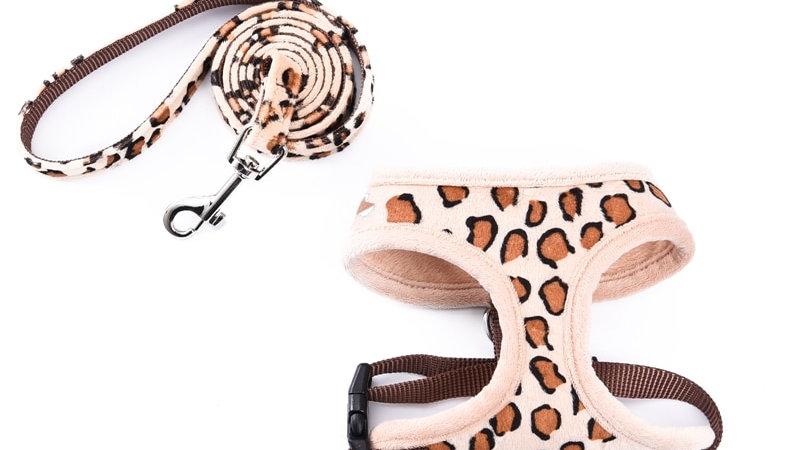 Cute Pet Accessorie Soft Pet Harness+Pet Leashes Leopard Adjustable Fashion