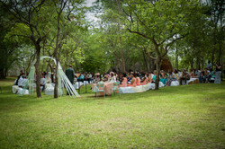 Wedding on front lawn at camp