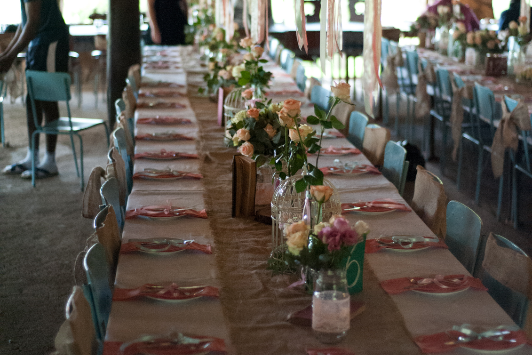 Wedding tables in dining hall