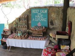 Wedding cake set up in dining hall