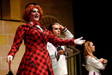 Merry Poppins (Alan Montanaro) meets Mikey (Luke Saydon) and Jane (Mandy Randon).