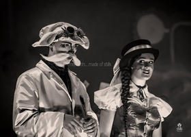 The White Rabbit (Joseph Zammit) and Alice (Jasmine Farrugia).