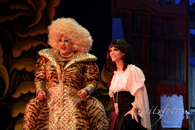 The Dame (Colin Fitz) with Snow White (Rachel Fabri).