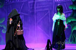 Disguised as a crone, Queen Narcissa (Katherine Brown) hatches her plot against Snow White (Rachel Fabri).