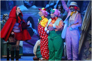 Little Red Riding Hood (Lisa Mifsud) meets the Three Little Pigs (Rebecca Brincat, Ema Marie Attard & Sean Borg).