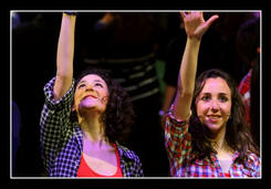 Tina Rizzo and Christy Galea at the end of a musical number
