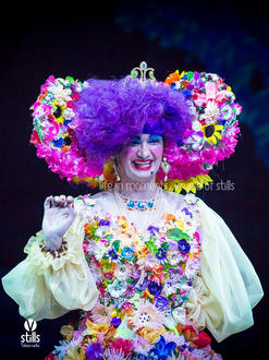 The Dame (Malcolm Galea) wearing a costume designed by Simona Mamo.