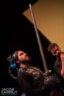 William (Philip Leone-Ganado) exhibits his hi-tech combat suit to his fellow knight Gabriel (Joseph Zammit).