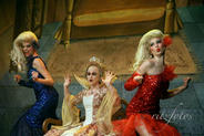 Queen Narcissa (Katherine Brown) with her supermodel side-kicks Mandy (Milly Uylenbrock) and Sandy (Steffi Thake).