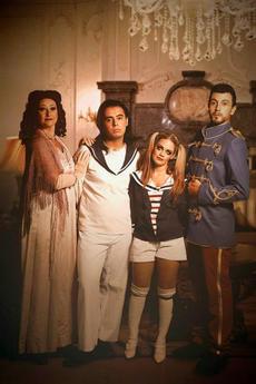 Family photo of Mrs Banks (Katja Brauneis), Mikey (Luke Saydon), Jane (Mandy Randon) and Governor Banks (Francesco Nicodeme).