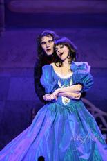 Sir Castick the Vampire Lord (André Agius) woos Princess Snow White (Rachel Fabri).