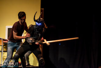 Eric (Andrew Borg Carbott) bravely tackles the shadowy creature that suddenly appears (Philip Leone-Ganado).