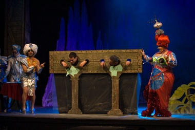 Guru Kevin (Christian Galea) and the Dame (Jo Zette) have some fun with the audience.