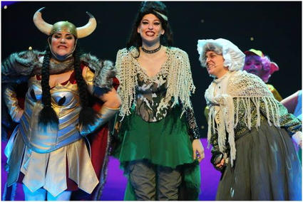 Chief Big Red (Marta Vella) with Fairy Stinkerbell (Steffi Thake) and the Sorceress (Katherine Brown).