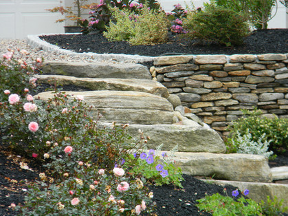 After: Natural stone wall and steps