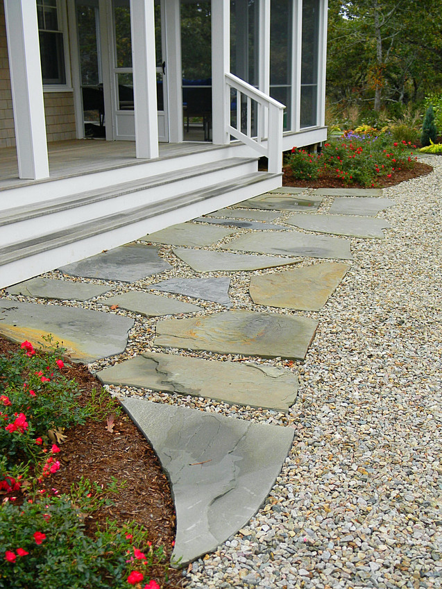 Front walk meets driveway in Eastham