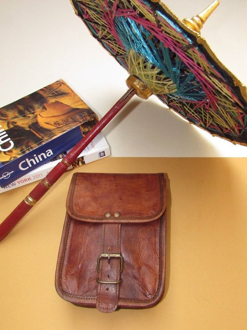 Small Buckled Leather Shoulder Bag - Rectangle