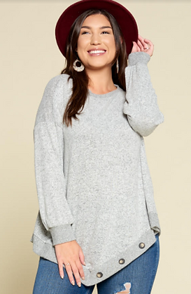 Plus Size Grey Long Sleeve with Button Details