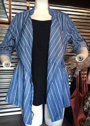 Pin Striped Tencel Jacket/Cascade Collar
