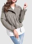 Plus Size Grey Moto Jacket