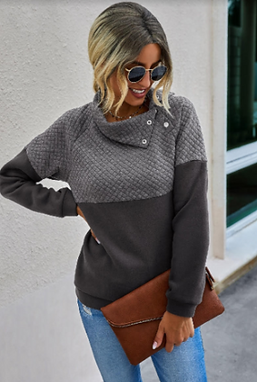 Grey Sweatshirt with Buttons