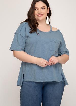 Blue Half Sleeve Top