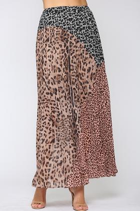 Mixed Animal Print Maxi Skirt