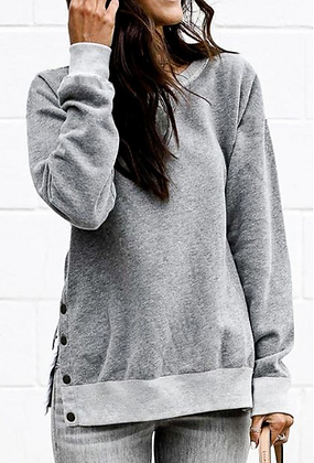 Grey Sweatshirt with Button Sides
