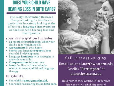 Research Opportunity for infants under 14 months old who are Deaf or Hard of Hearing – Northwe