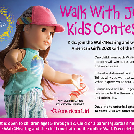 "Walk4Hearing ""Walk with Joss"" contest, Deadline September 28th for Chicago"