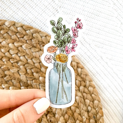 Watercolor Vase with Flower Bouquet