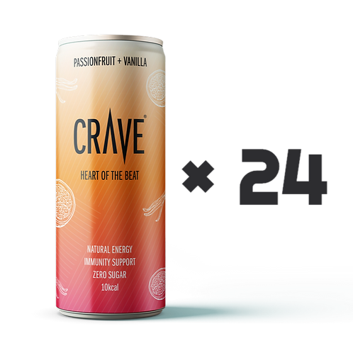 Crave® Natural Energy Passionfruit + Vanilla (24 pack)