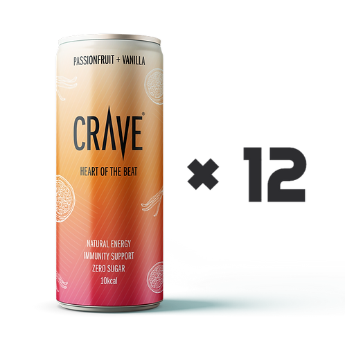 Crave® Natural Energy Passionfruit + Vanilla (12 pack)