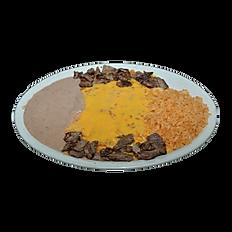 #3 Fajita Beef of Chicken Enchilada Plate