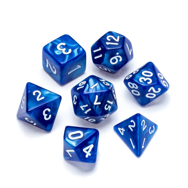 Pearl Series Dice_ Blue - Numbers_ White