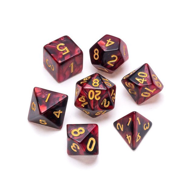 Marble Series Dice: Red & Black - Number