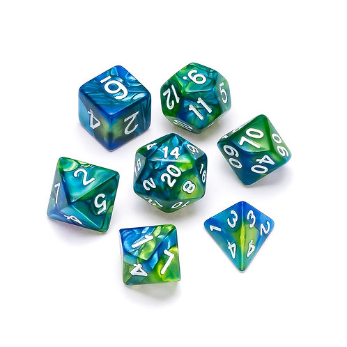 Marble Series: Blue & Green - Numbers: White