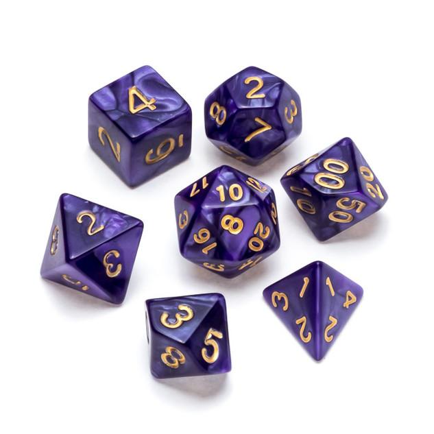 Pearl Series Dice_ Purple - Numbers_ Gol