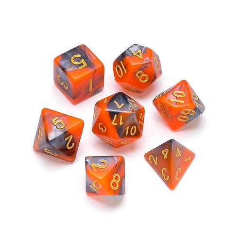 Marble Series: Orange & Grey - Numbers: Gold