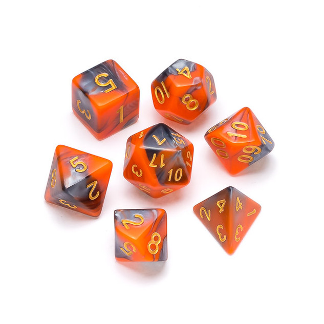 Marble Series Dice: Orange & Grey - Numb