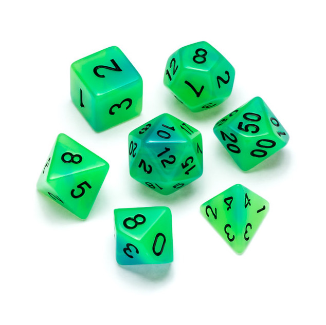 Flourescent Series Dice: Green & Blue - Numbers: Black