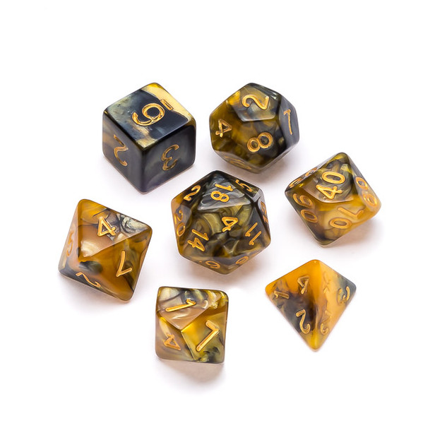 Marble Series Dice: Gold & Black - Numbe